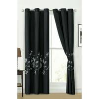 4-Pc Lenka Floral Blossom Leaves Embroidery Curtain Set Black White Grommet Drape Sheer Liner