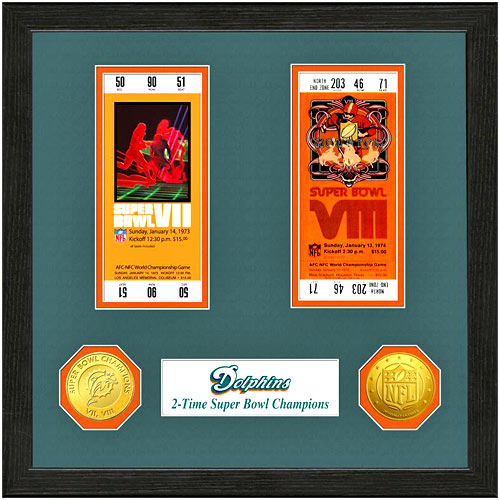 Miami Dolphins Super Bowl Ticket Collection Wall Frame - No Size