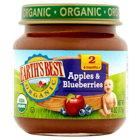 Earth's Best Organic Apples & Blueberries Baby Food Stage 2 6 Months+, 4 oz, 12
