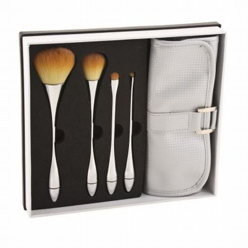4 Makeup Brushes + Brush Roll Case Set ABT Face & Eye
