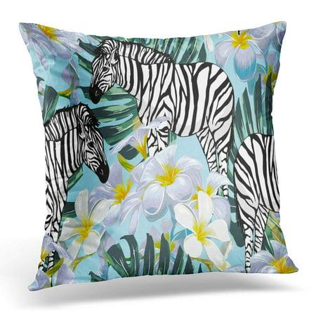 ECCOT Green Safari Blue Summer Zebras Exotic Leaves Tropical Flowers Beautiful Floral Pattern Black Pretty Pillowcase Pillow Cover Cushion Case 16x16 inch - Blue Safari