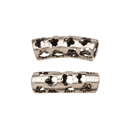 Rounded Star Cut Out Antique Silver-Plated Focal Curved Tube 4mm Hole 22.5x7mm Sold per pkg of 6pcs per