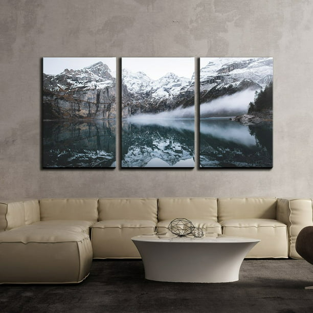 Wall26 3 Piece Canvas Wall Art Winter Landscape Of Snow Mountain With Clear Reflection In The