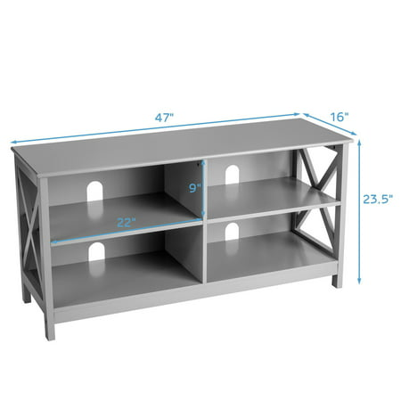Gymax TV Stand Entertainment Media Center for TV's up to 55'' w/ Storage Shelves Gray - image 5 of 10