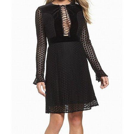 Foxiedox Lace-Up Velvet Large Dot Lace Plunge Sheath Dress