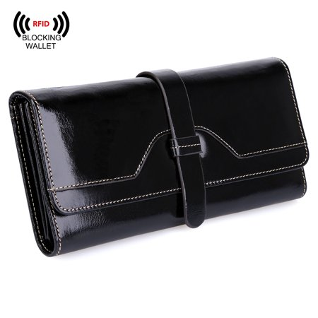 S-ZONE RFID Blocking Real Leather Long Handbag Wallet for Women Check Book Card Holder Ladies Clutch, Beautiful, Functional & Well-made