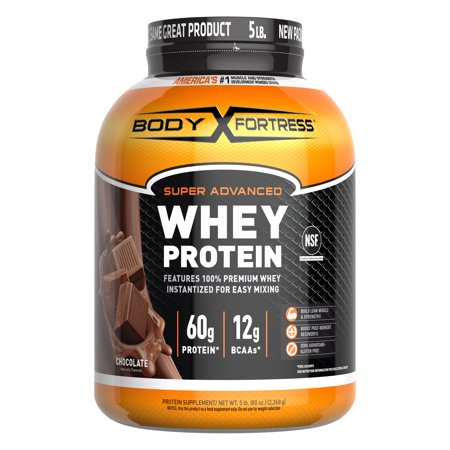 Body Fortress Super Advanced Whey Protein Powder, Chocolate, 60g Protein, 5lb, 80oz (Packaging May Vary)