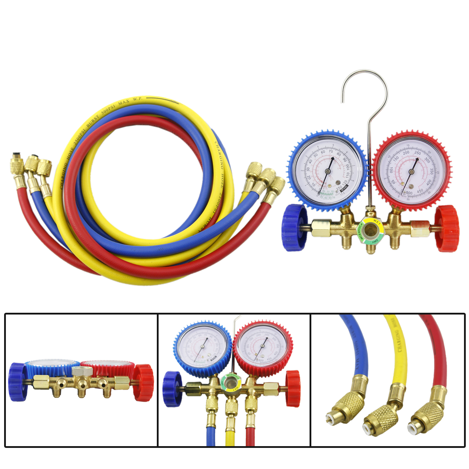 Orion Motor Tech R12 R22 R502 HVAC A/C Diagnostic Manifold Gauge Set
