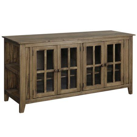 Four-Door Pine Wood TV Stand -