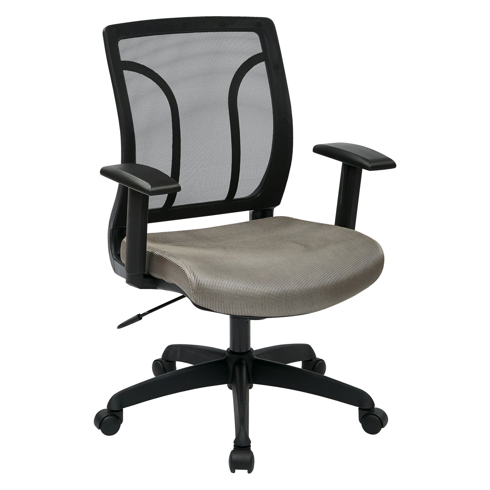 Office Star Screen Back Chair with Mesh Seat and Height Adjustable Arms, Multiple Colors