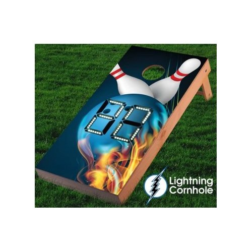 Lightning Cornhole Electronic Scoring Flaming Bowling Ball Cornhole Board
