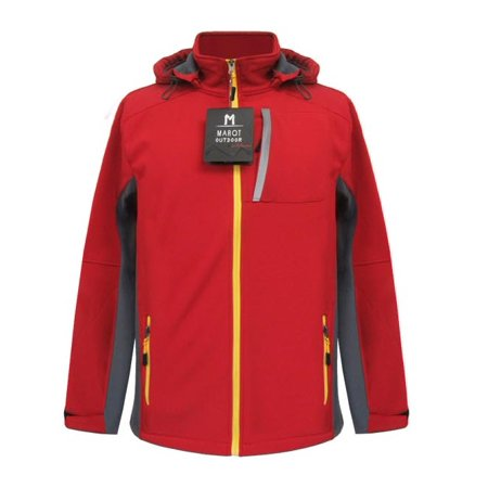 Marqt Mens Soft Shell Hooded Jacket Red Large