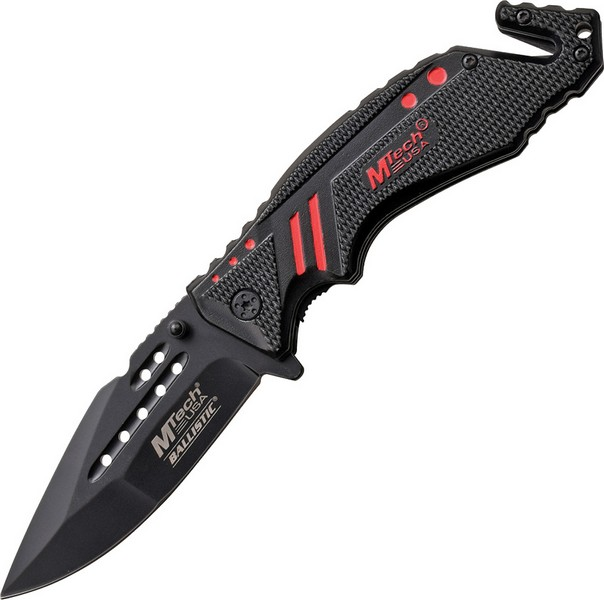 "Mtech MTA898RD Rescue Linerlock A/O Folding Knife Black 3.5"" Blade/Handle w/Red"