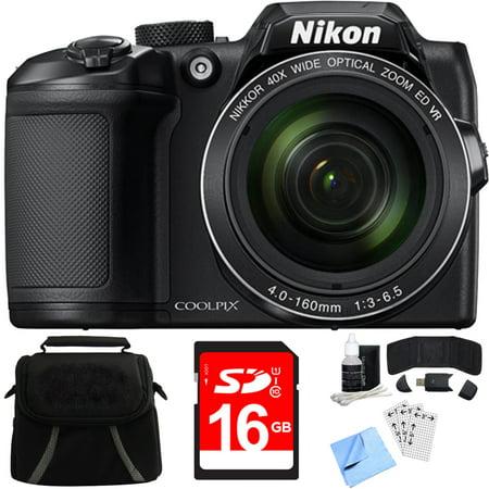 Nikon COOLPIX B500 16MP 40x Optical Zoom Digital Camera w/ Built-in Wi-Fi 16GB Bundle includes Camera, Bag, 16GB Memory Card, Reader, Wallet, Screen Protectors, Cleaning Kit and Beach Camera (Bag Kit Screen)