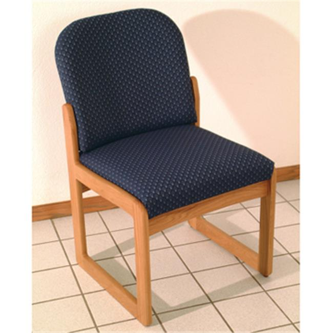 Wooden Mallet DW8-1LOLB Prairie Armless Guest Chair in Light Oak - Leaf Blue