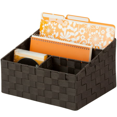 Honey Can Do Woven Mail and File Desk Organizer, Espresso