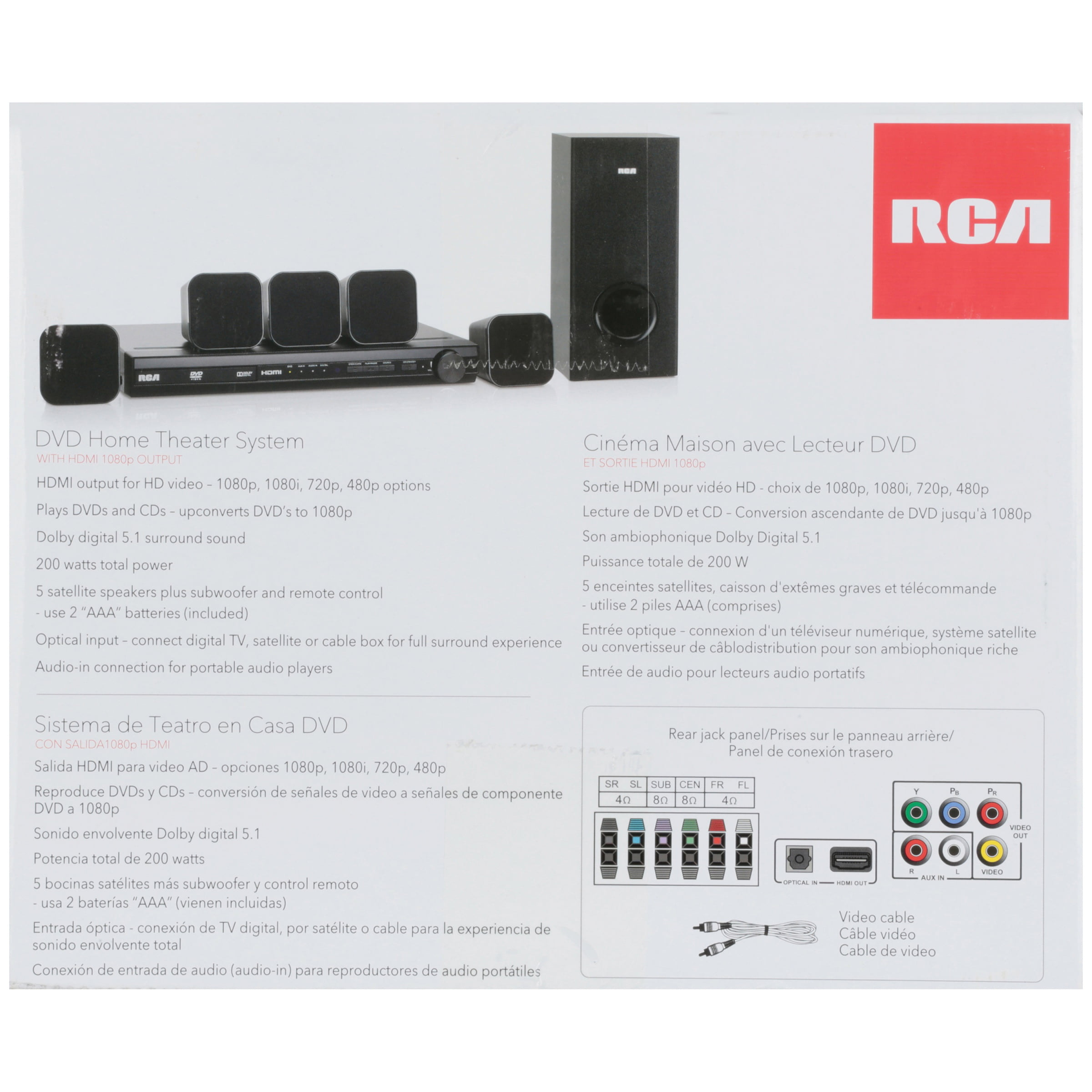RCA DVD Home Theater System with HDMI 1080p Output 8 pc Box ...