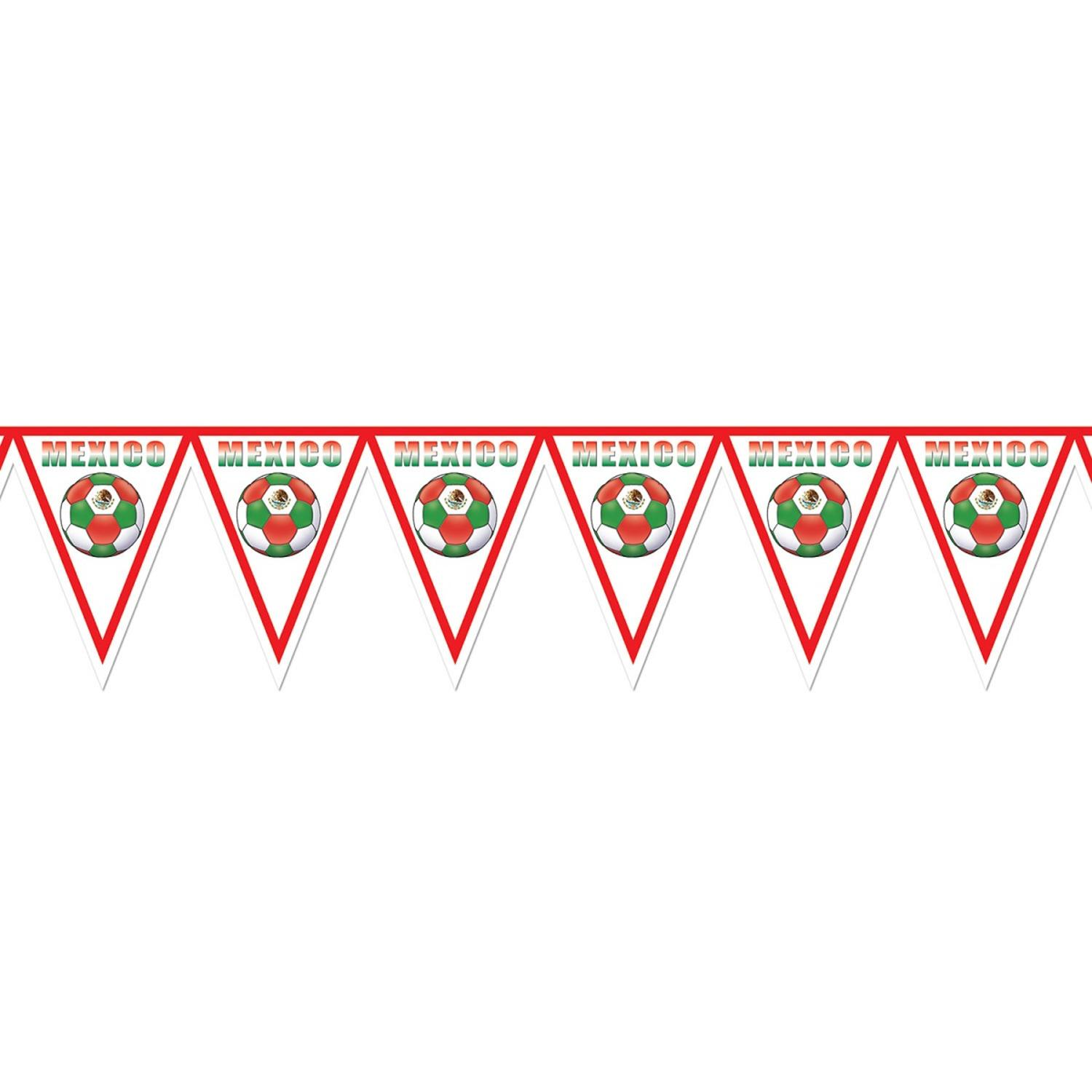 "Pack of 6 Red, White and Green ""Mexico"" Soccer Themed Pennant Banner Party Decorations 7.4'"