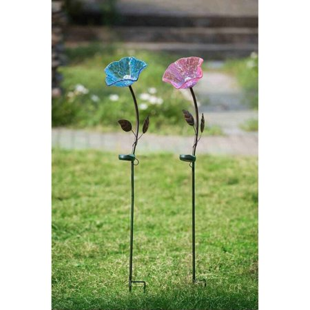 """Sunjoy 110309029 Flower Garden Stake with LED Solar Technology, Purple and Blue, Set of 2, 40"""""""