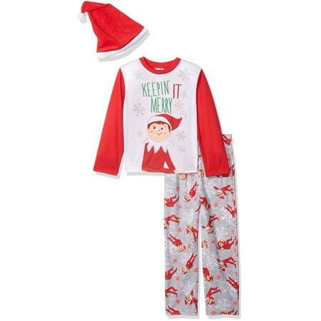 Elf on the Shelf  Boys' Family Sleep  Pajama with Hat, 3pc Elf, Size: 8 (Elf On The Shelf Adult)
