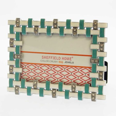 Sheffield Home Turquoise/White Metal Jeweled 4x6 Photo Table Top Picture Frame Jeweled Fanci Frames