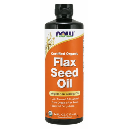 NOW Supplements, Certified Organic Flax Seed Oil Liquid, Cold-Pressed and Unrefined, 24-Ounce Fresh Flax Oil Liquid