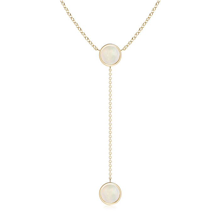 Mother's Day Jewelry Necklace By Yard Bezel-Set Round Cabochon Opal Drop Necklace in 14K Yellow Gold (7mm Opal)... by Angara.com