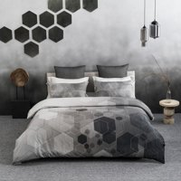 "A1HC Hexad Reversible Print 100% Organic Cotton Wrinkle Resistant Duvet Cover and Sham Set of 2 with Internal Ties and Button Closure, 88"" x 92"", Queen, Black/White"