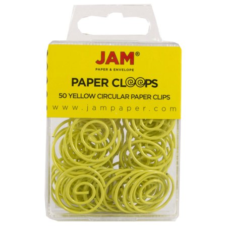 JAM Circular Paper Clips, Round Paperclips, Yellow, 50/Pack - image 3 of 3