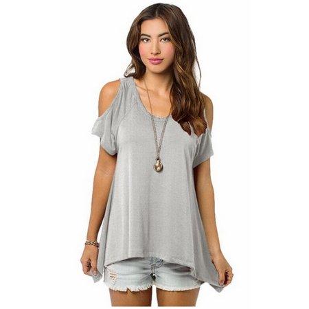 bbfd73a7520 Smacktom Womens Summer Casual Off the Shoulder Short Sleeve Loose Cotton Tops  Blouses T-Shirt - Light Grey S - Walmart.com