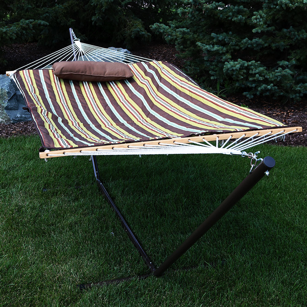 Sunnydaze Cotton Rope Hammock and Durable 12-Foot Stand Set w/ Quilted Pad and Pillow, Desert Stripe