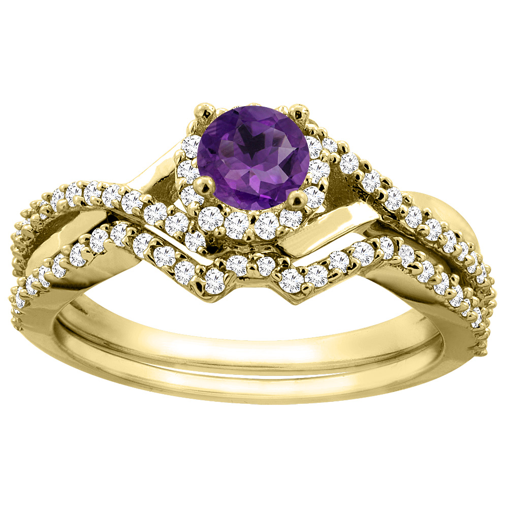 14K Yellow Gold Natural Amethyst 2-piece Bridal Ring Set Round 5mm, size 5.5 by Gabriella Gold