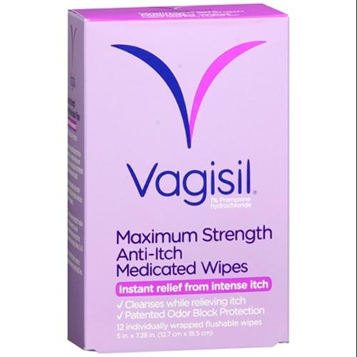 Vagisil Anti-Itch Medicated Wipes 12 Each (Pack of 3)