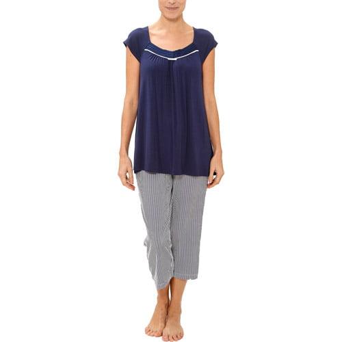 George Women's Cap Sleeve Top and Capri Pant PJ Set