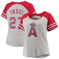 Mike Trout Los Angeles Angels Majestic Women's Plus Size Fleck Yarn Raglan T-Shirt - Gray/Red