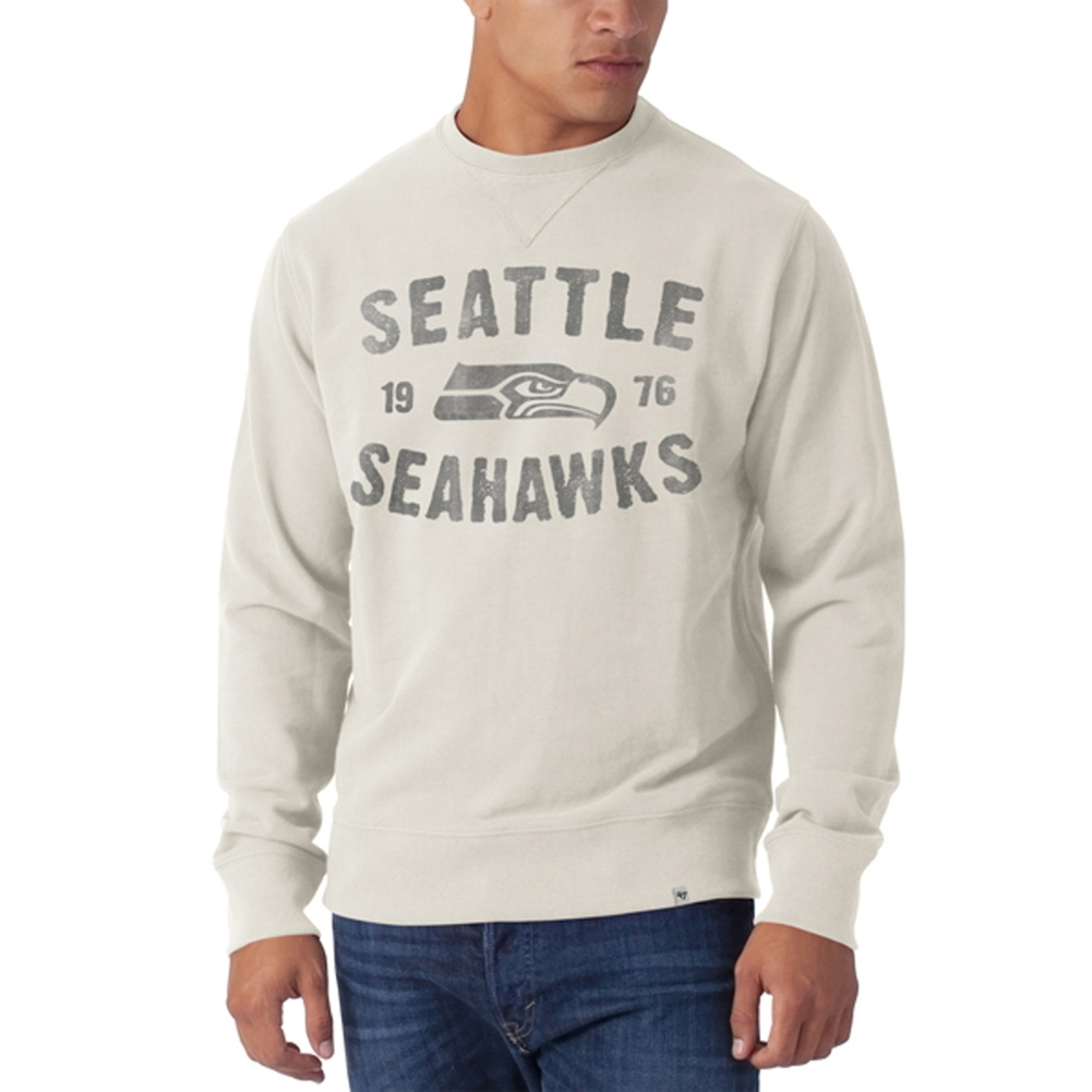 Seattle Seahawks - Est 1976 Logo Striker Sandstone Premium Crew Neck Sweatshirt
