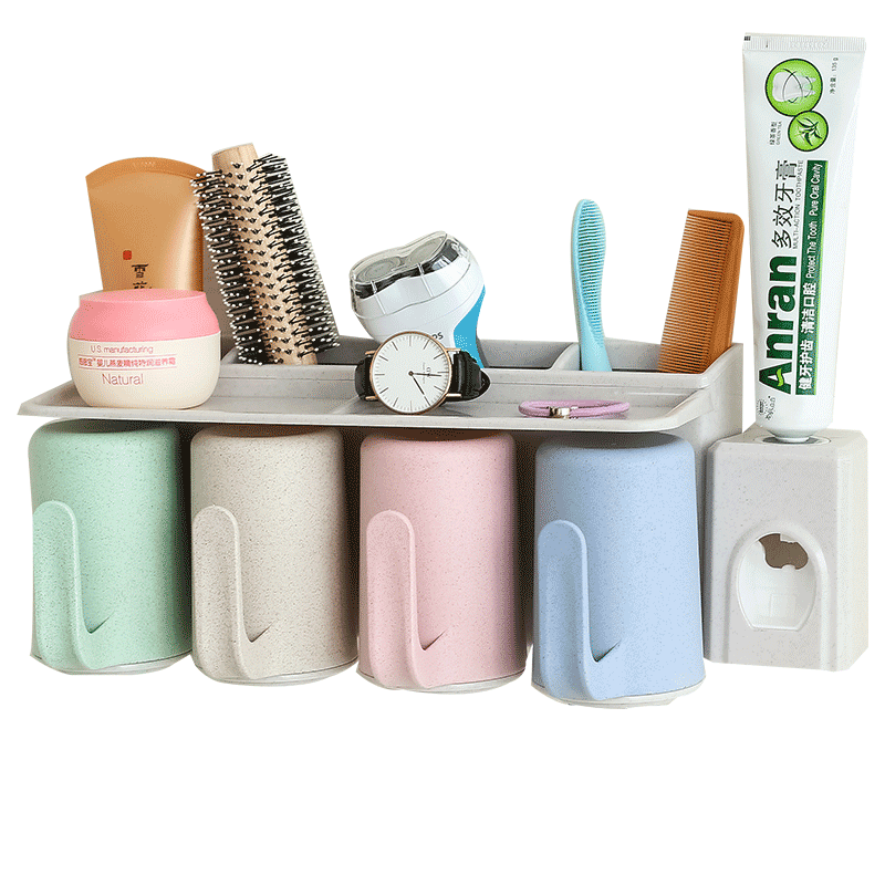 Automatic Toothpaste Dispenser Wall Mounted Toothbrush Holder Gargle Cups Set Natural Wheat Straw Super Sticky Suction Pad With Hands Free Toothpaste Squeezer Storage Bathroom Set