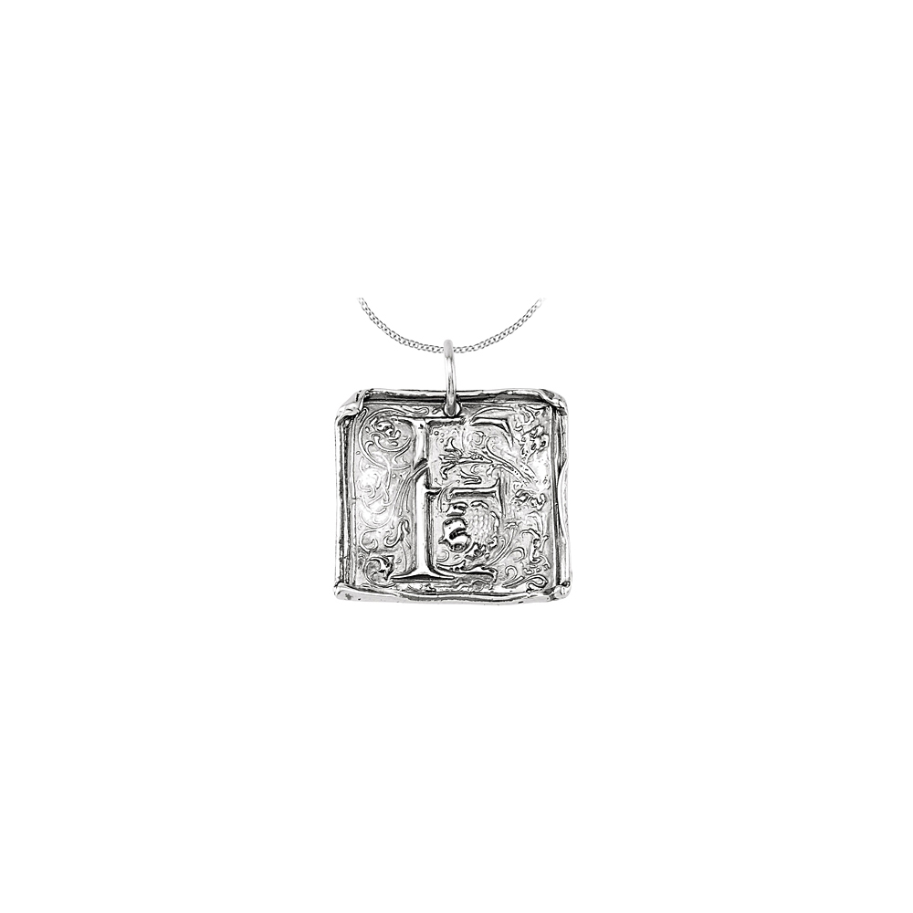 512dfc853d16 Vintage Pendant with Letter F Engraved Initial Necklace in Rhodium ...