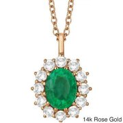 Allurez 14k Gold 3.60ct Oval Emerald & Diamond Halo Pendant Necklace