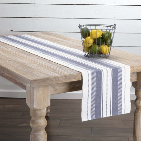 Colonial Blue Farmhouse Tabletop Kitchen Samantha Cotton Striped Rectangle 13x72 Runner