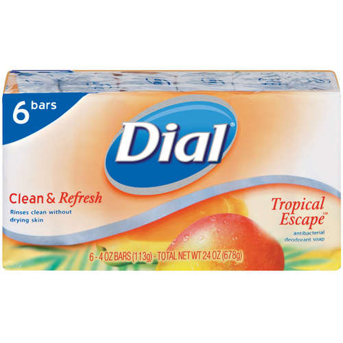 Dial Bar: Clean & Refresh Tropical Escape Antibacterial Deodorant 4 Oz Ea Soap, 6 ct
