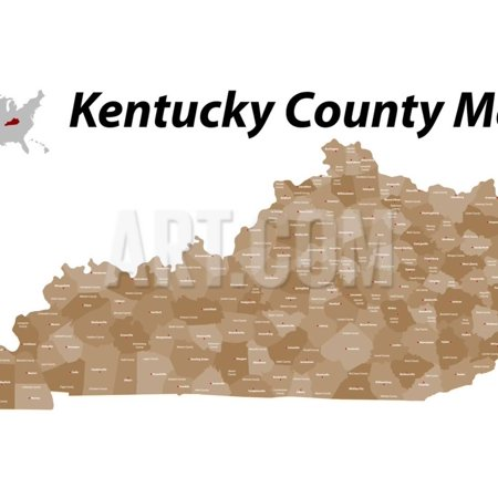 Kentucky County Map Print Wall Art By malachy120