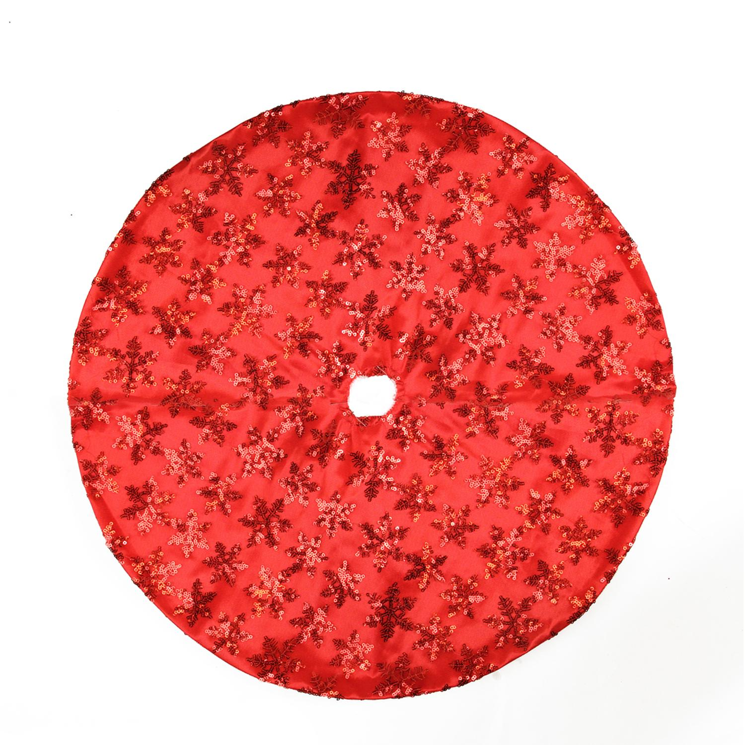 "20"" Decorative Red Sequin Snowflake Pattern Mini Christmas Tree Skirt"