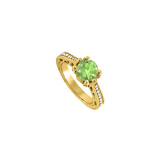 Fine Jewelry Vault UBNR83895AGVYCZPR Fabulous Jewelry Gift Peridot & CZ Ring - 1.25 CT TGW , 16 Stones