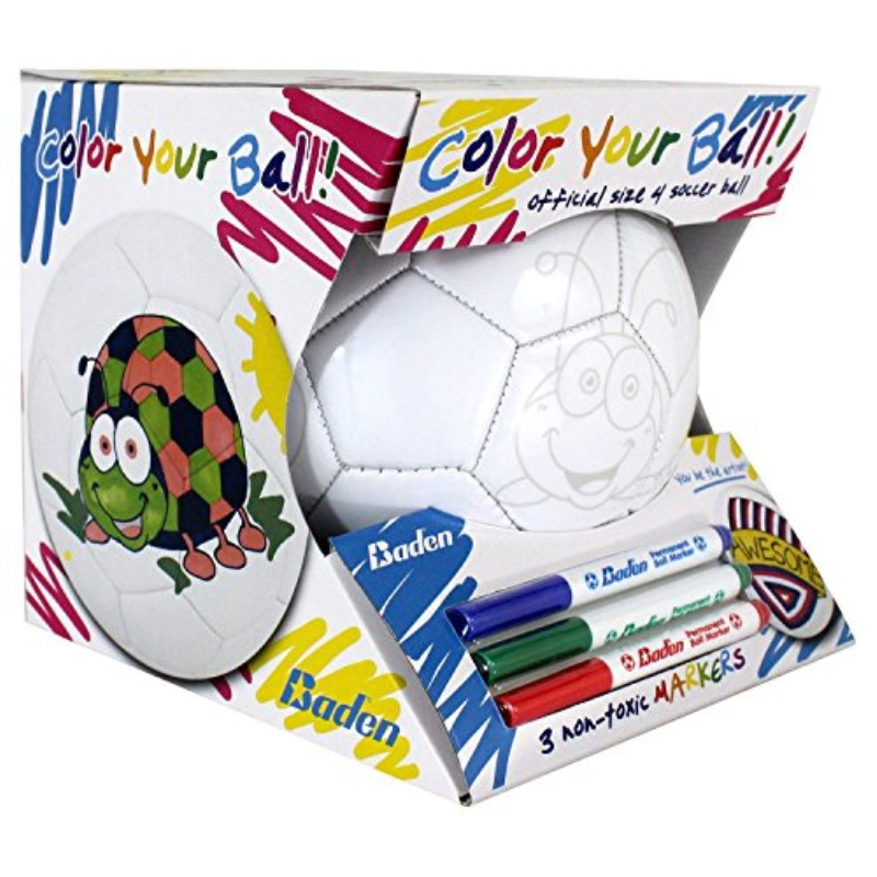 Baden Color Your Own Soccer Ball, Kids Soccer Ball w  Colored Markers by
