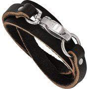 Stainless Steel Black Leather Wrap Bracelet