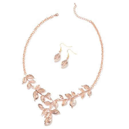 Leaf Necklace Earring Set (Rosetone ION Plated Rose Gold Stainless Steel Leaf Earrings and Necklace for Women Jewelry Set Gift 22