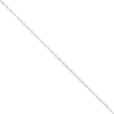 925 Sterling Silver 1.5mm Wide Twisted Singapore Chain Anklet Ankle Bracelet