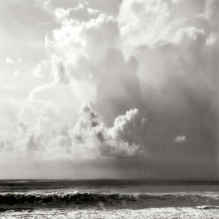 Ocean Storm II Sq. Bw Cool Black Ocean Best Durable Classic Lovely Waves Beach Poster