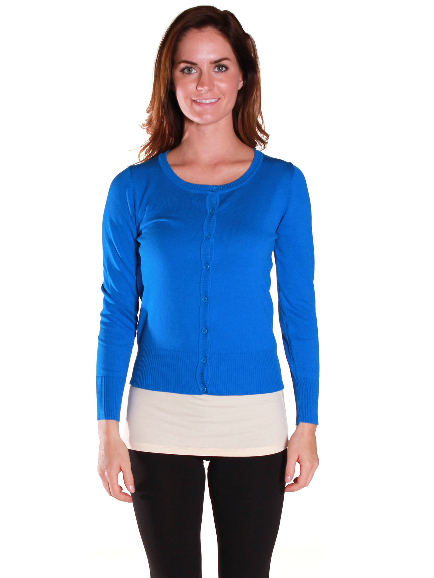 Active USA Junior Women's Knit Basic Round Neck Cardigan Sweater - Junior and Plus Sizes